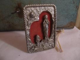 Frans brocante klein Maria plaquette uit Lourdes