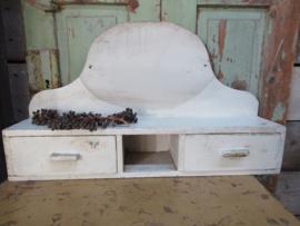Brocant hangkastje met 2 lades