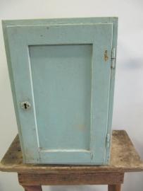 Klein blauw/groen houten kastje
