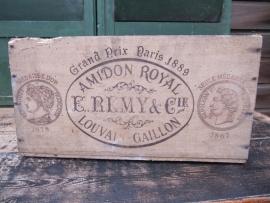 Antieke rijst-stijfsel kist E. Remy