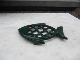Frans brocante metalen zeepbakje in visvorm