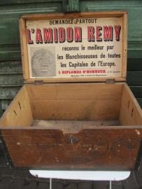 Hele oude stijfsel kist met oud etiket