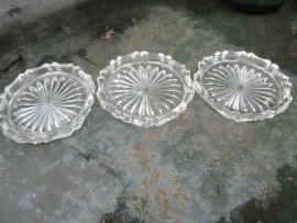 Brocante glazen onderzetters 4 stuks