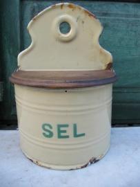 "Oude emaille Franse zoutbak met groen opschrift ""Sel"""