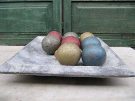 Set van 9 stuks oude petanque ballen