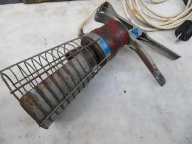 Engelse brocante looplamp met houten basis