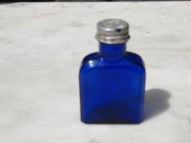 Antiek Frans blauw flesje plat