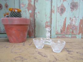 Brocant glazen peper/zout stelletje