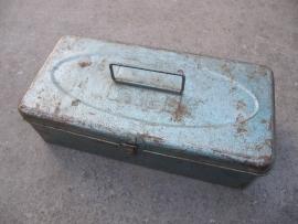 Brocante metalen gereedschaps kistje