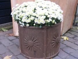 Hele oude Franse gietijzeren ronde bloembak