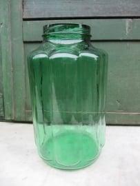 Old corrugated glass green jar