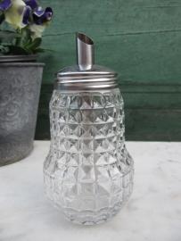 Brocante glazen schenksuikerpot