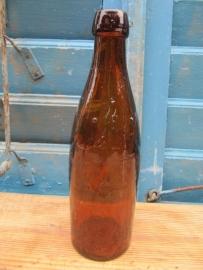 Mooie hele oude bruine fles van 1/3 liter