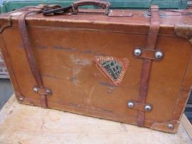 Oude lederen grote,zware koffer
