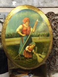 Oud houten schilderij medaillon style Ganzenhoedster