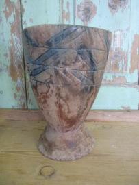 Brocante houten vaas