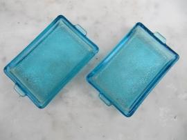 Frans brocante plat geribbeld blauw schaaltje