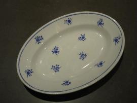Brocante aardewerk serveerschaal met bloemmotief