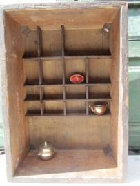Oud brocante mooi houten diep letterbakje