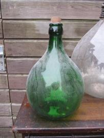 Groene brocante bolfles van 5 liter
