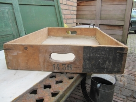 Brocante gave houten opslagkist