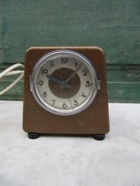 Oude industriële tijdsklok of wekker op stroom.
