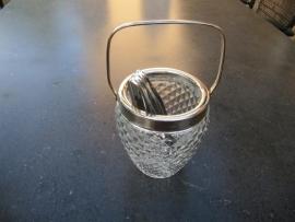 Glazen suikerklontjespot met verzilverde tang