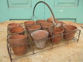 Antiek Frans rekje voor 12 potjes/glazen