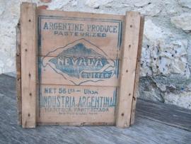 Oud houten boterkistje uit Argentinië