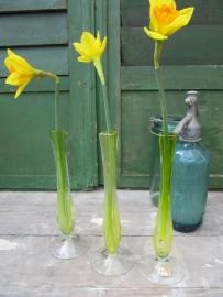 Mooie oude brocante glazen vaasjes van Val St. Lambert setje van 3