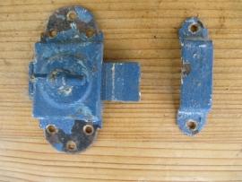 Frans oud schuif- draaislotje blauw