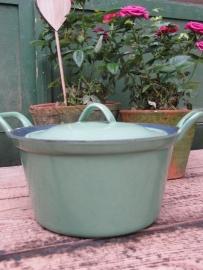 Emaille mooie groene braadpan