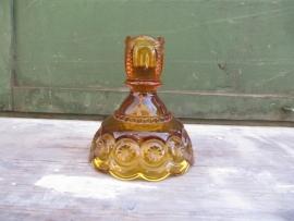Brocante glazen gele kandelaar uit America