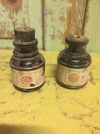 Frans oud inkt/kleur- flesje