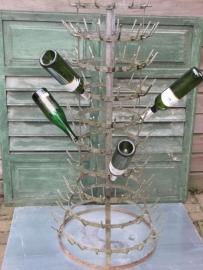 Frans oud brocante groot flessenrek
