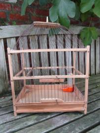 Brocante houten vogelkooi