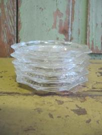 Brocante glazen onderzettertjes, set van 5