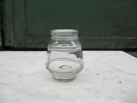 Ancient brocante French mustard  jars out of glass