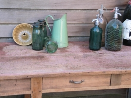Brocante reseda groene emaille water- of melkkan