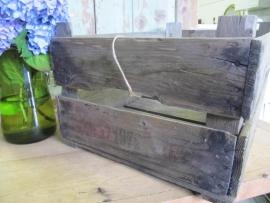 Oude houten veilingkist