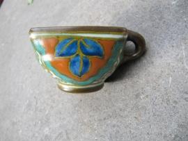 Mooi oud Plateel koffie kopje design Collier uit 1926