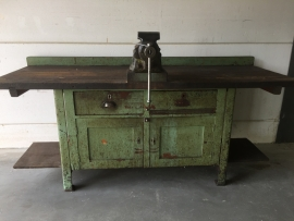 Old industrial green workbench