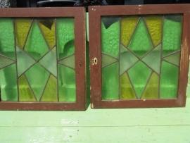 Set van 2 deurtjes met glas in lood