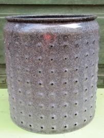 Brocante grijs/gewolkte trommel met gaatjes