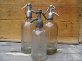 Brocant glazen spuitfles met opschrift 1/2 liter