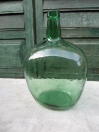 Brocante ovale groene fles van 10 liter
