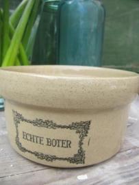 """Brocante aardewerk boterpot met opschrift """"echte boter"""""""