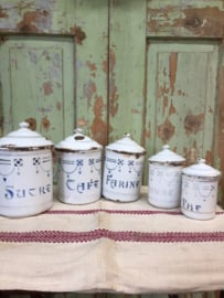 Set( 5) Franse emaille brocante voorraad potten