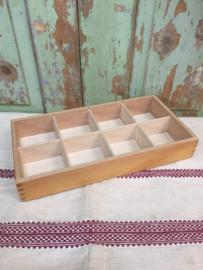 Vintage houten kist/bak 8 vaks