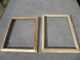 Oude brocante houten lijst met goudaccenten